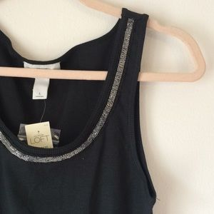 Ann Taylor LOFT Black Beaded Camisole Large NWT